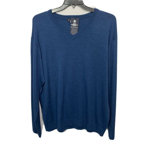 $99 Hart Schaffner Marx V-Neck Sweater 2XT 2XLT Teal Blue Wool Pullover Clothing, Shoes & Accessories