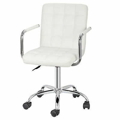 360 Swivel White Desk Chairs With Wheelsarmrests Modern Pu Leather Executive