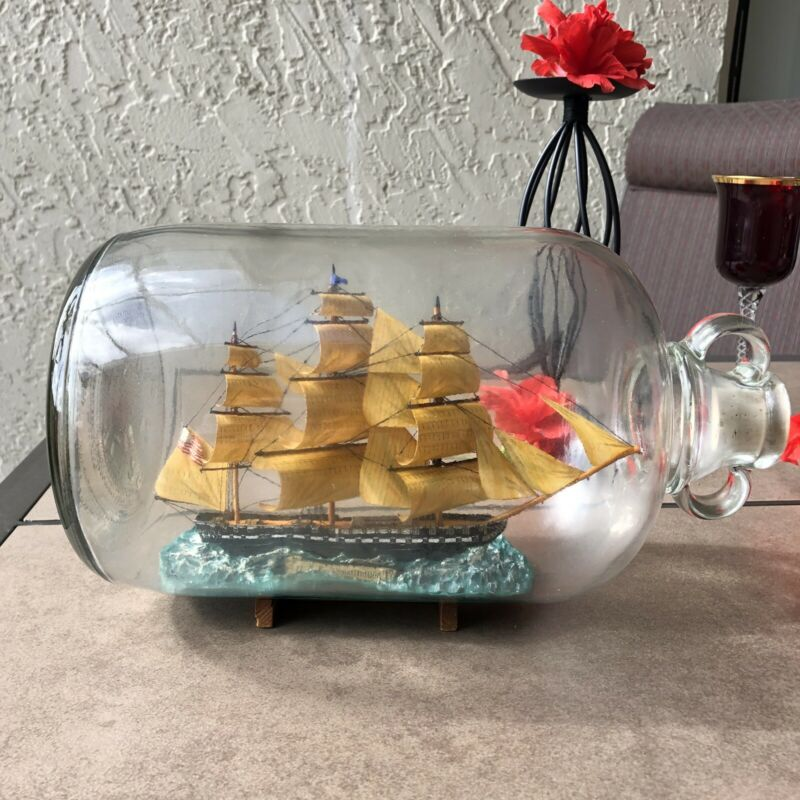 "Antique Ship in a Bottle ""S.S.F Constitution"" Folk Art With Wooden Stand"