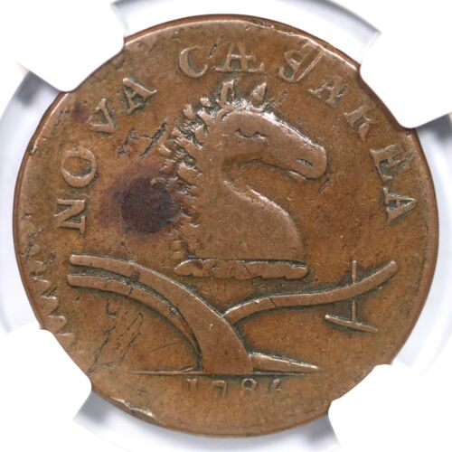 1786 M 12-g R-5 Ngc F 15 No Coulter New Jersey Colonial Copper Coin