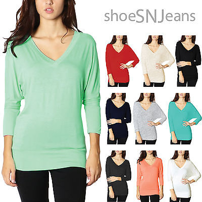 NEW Fashion Colors V Neck 3/4 Sleeves Batwing Dolman Blouse Tunic Top Loose (Dolman Sleeved V-neck Tunic)