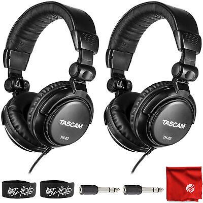 Tascam TH-02 Foldable Recording Mixing Home Studio Headphones Bundle (2 Pair)