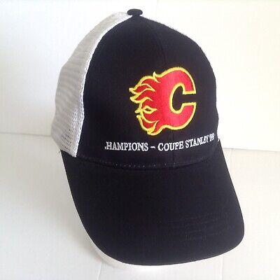 41dad32094f80 Calgary Flames Baseball Cap Hat 1989 Stanley Cup Champions Black White Mesh