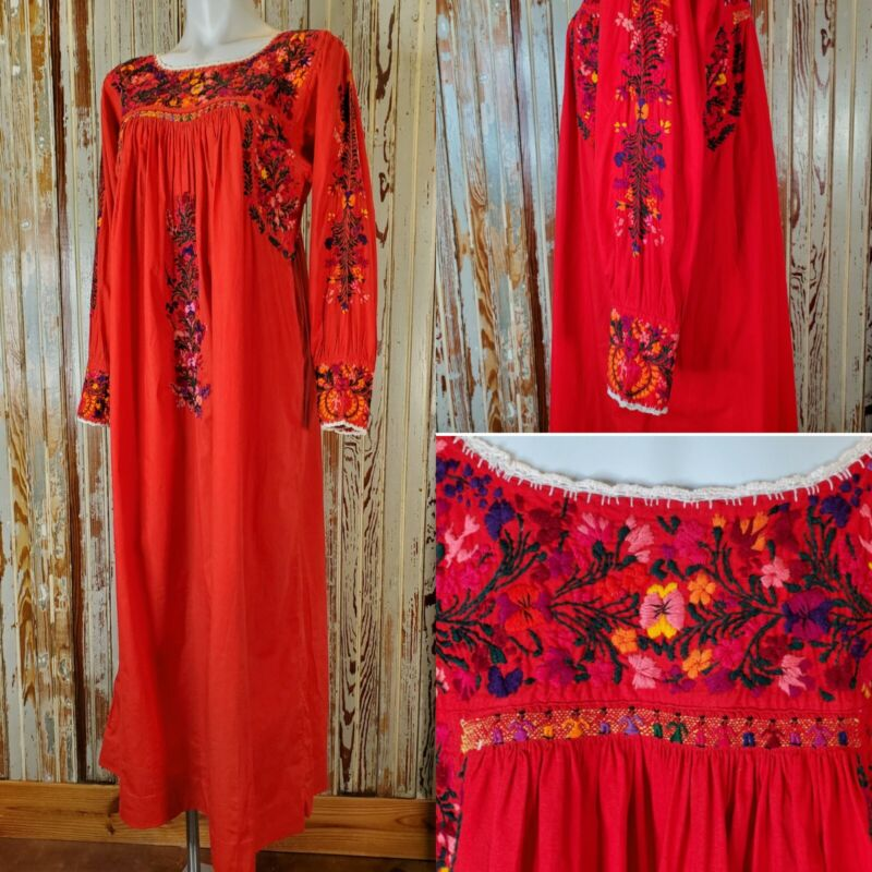 VTG Mexican Long Sleeve Dress Cotton Embroidered Oaxacan Maxi Snap Cuff 1970s