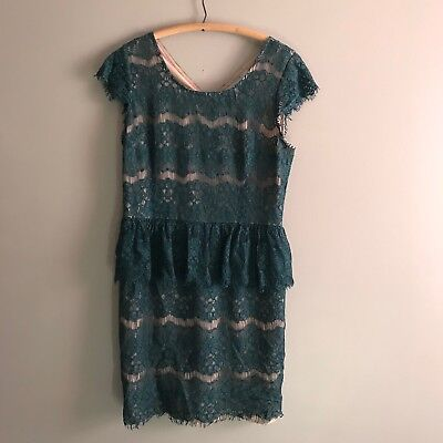 Anthropologie Maeve Large L Womens Elsa Peplum Teal Floral Lace Party Dress J23 ()