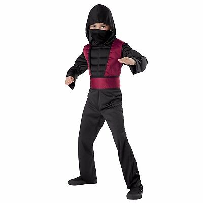 Muscle Chest Ninja Boy's Red & Black Halloween Costume Child 4-6 Small #R50 - Black Boy Muscle