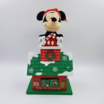 DISNEY Plush Mickey Mouse Top of Wood House Christmas Holiday Advent Calendar.