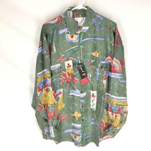 GOOUCH Mens Medium Long Sleeve Shirt Silk Button Up 90