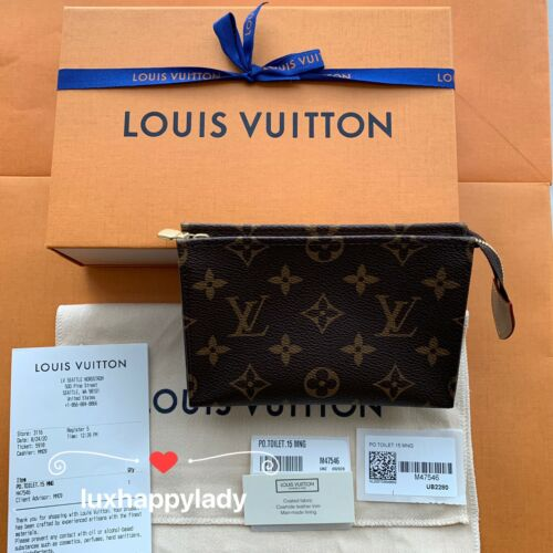 New LOUIS VUITTON TOILETRY POUCH 15 Monogram Clutch Bag RARE HOT GIFT