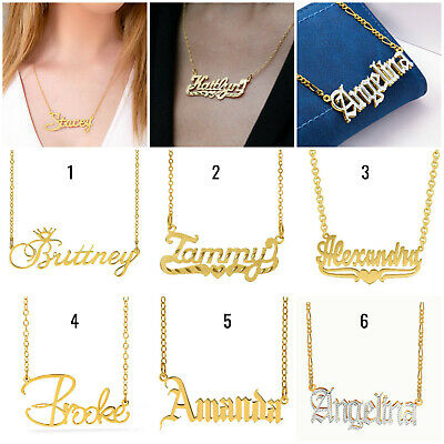 Personalized ANY NAME 14K Gold Plated Sterling Silver Necklace Pendant Chain NEW Gold Plated Name Necklace