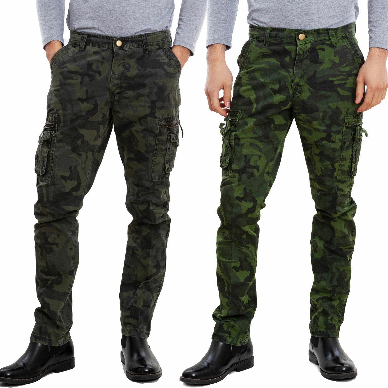 Pantalone Uomo Mimetico Con Tasconi Laterali Cargo Slim
