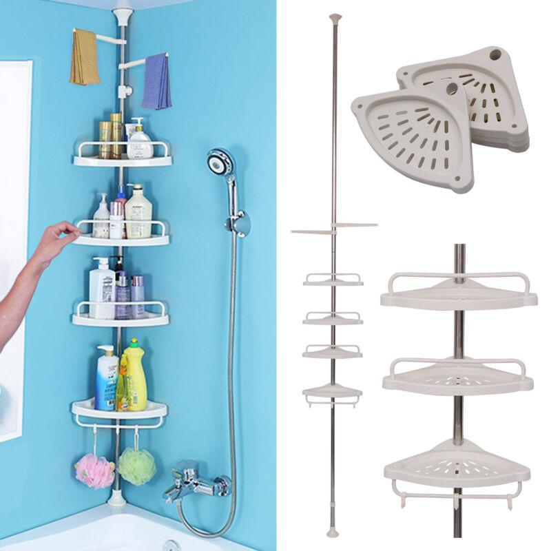 badregal eckregal teleskop regal 4 b den duschablage ablagen duschecke ebay. Black Bedroom Furniture Sets. Home Design Ideas