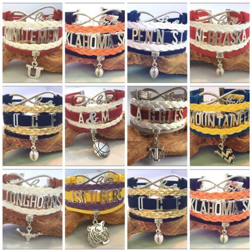 College Football Team Sports Fan Shop Infinity Bracelet Gift