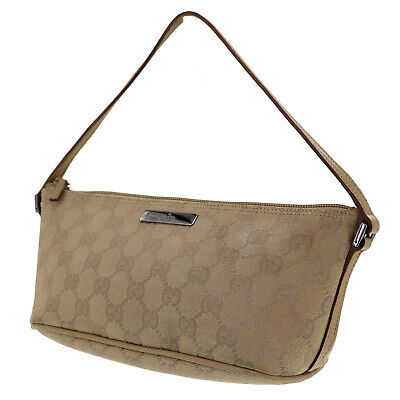 GUCCI Original GG Canvas Leather Pouch Hand Bag Beige Italy Authentic #RR234 Y