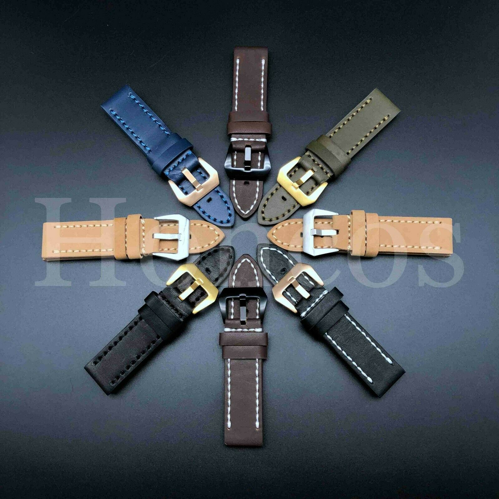 20 22 24 26 MM Watch Black Leather Strap Band Clasp Replacem