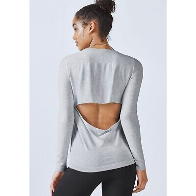 NWT FABLETICS Womens Size large Jocelyn Cut Out Back Gray Sweater $55