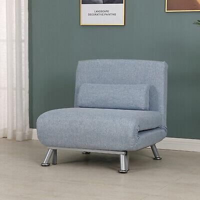 HOMCOM Folding 5 Position Steel Convertible Sleeper Bed Sofa Chair Lounge- Blue