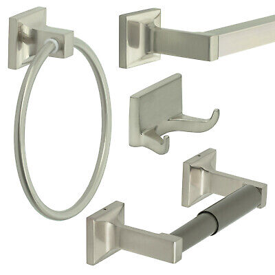 Redwood Series 4 Piece Bath Hardware Bathroom Accessory Set, Brushed Nickel