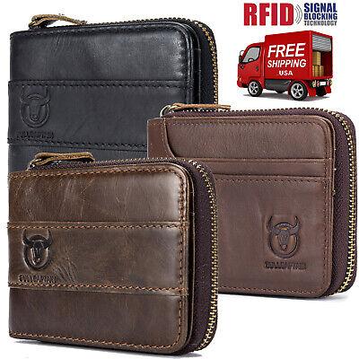 Genuine Leather Zipper (Vintage Genuine Leather Mens Bifold Wallet RFID Zip Around Zipper Coin Purse US )