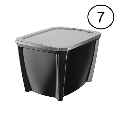 Life Story Black 20 Gal Stackable Organization Storage Box Container (7 Pack) (Stackable Containers)