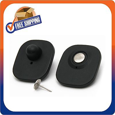 1000 CLOTHING SECURITY TAGS RF 8.2MHZ CHECKPOINT COMPATIBLE MINI TAG BLACK W/PIN