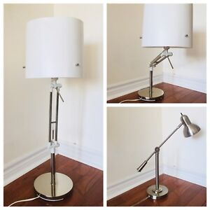 Various Stainless Steel adjustable table lamps