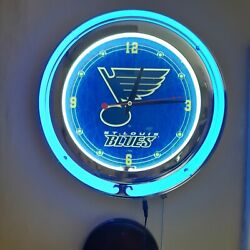 St. Louis Blues 14 Double Ring Neon Wall Clock