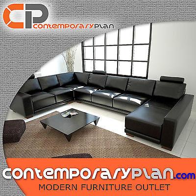 (Contemporary Black Italian Leather Sectional  Sofa w/ Adjustable Headrest Modern)