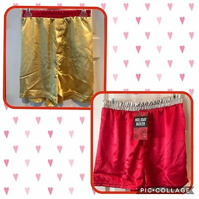 NWT Men's Red Satin Silk Valentine's Day Boxer Shorts Holiday Small