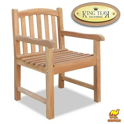 Solid Teak Wood Dining Arm Chair Outdoor Furniture Seat Patio Garden w Backrest ()