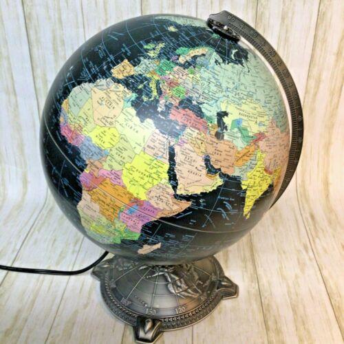 """Vtg 12"""" Replogle Starlight Series World Globe Lamp Black Oceans Lighted Land"""
