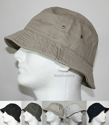 MEN 100% COTTON FISHING BUCKET HAT CAP - BEIGE BLACK GREEN NAVY WHITE - S/M L/XL - White Bucket Hats
