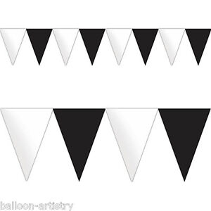 4.5m Classic Black & White Birthday Party Pennant Flag Banner Bunting Decoration