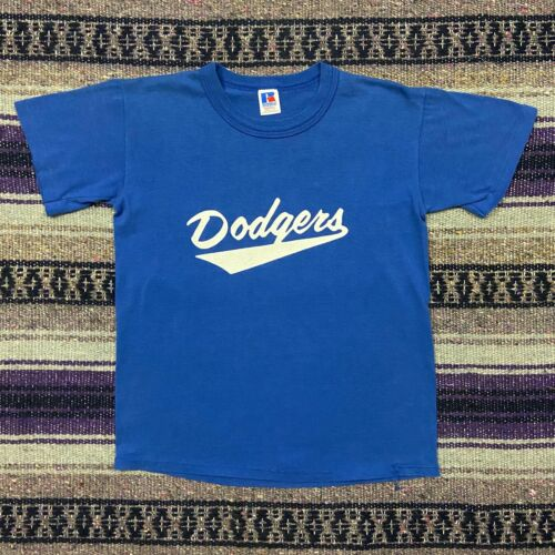 Vtg Baseball Shirt Youth Large 80s 90s Dodgers #12 Short Sleeve Graphic Tee Blue