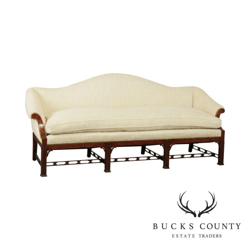 Chinese Chippendale Style Custom Quality Mahogany Camel Back Sofa