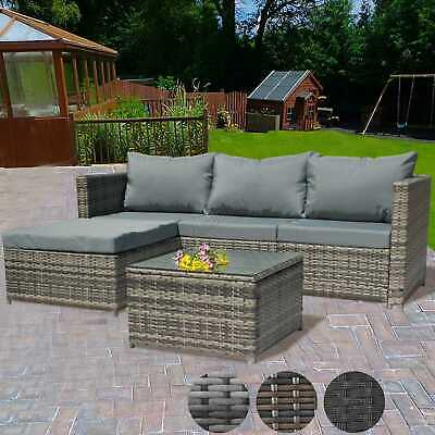 Garden Furniture - BIRCHTREE Rattan Garden Furniture Set Corner Sofa Glass Table Patio 5 Pieces 01