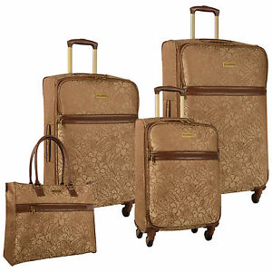 TOMMY BAHAMA MAHALO BROWN 4 PIECE SPINNER LUGGAGE SET $1280 VALUE