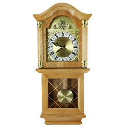 NEW BEDFORD GOLDEN OAK FINISH 26 GRANDFATHER WALL CLOCK with PENDULUM & 4 CHIME