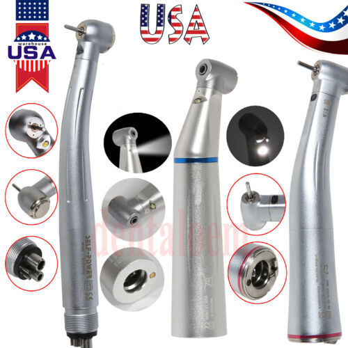 Dental 1 5/1 1 LED E-generator High/Low Speed Contra Angle Handpiece Fit NSK USA - $25.99
