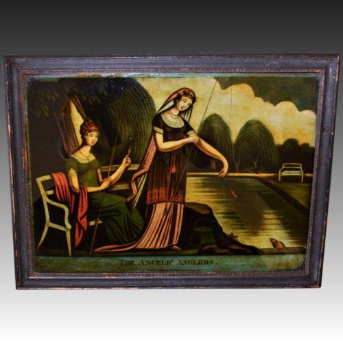 """C1810 Antique Georgian Reverse Mezzotint Print On Glass ~ """"The Angelic Anglers"""""""
