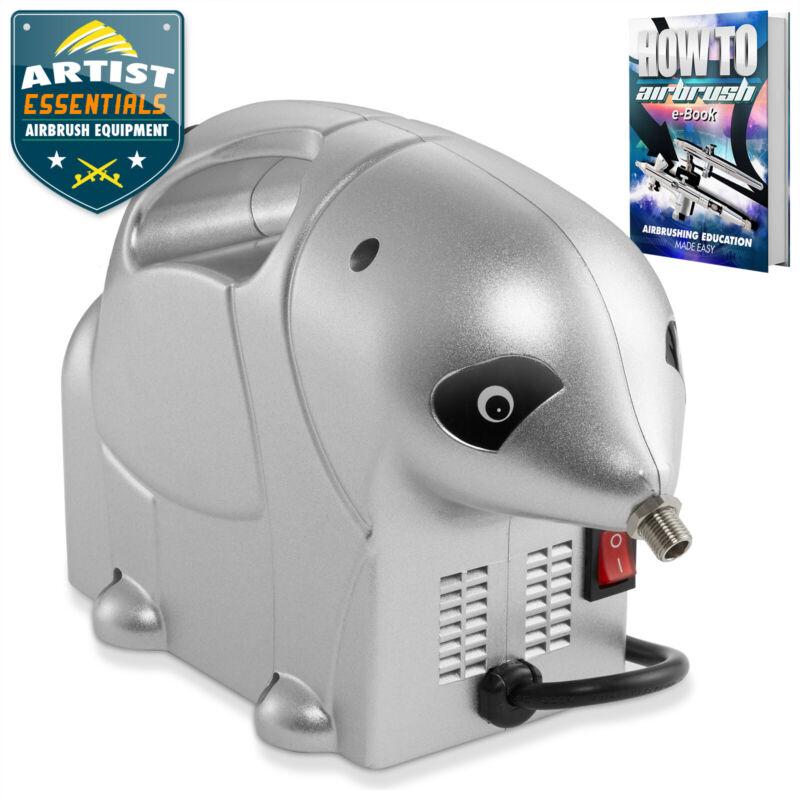 PointZero 1/8 HP Airbrush Air Compressor -  Quiet Portable Pump w/ Panda Design