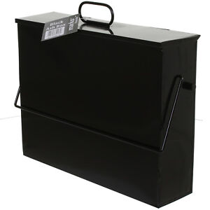 Ash Carrier Box with Lid Black Metal Hot Fireplace Tidy Bin Bucket Container NEW