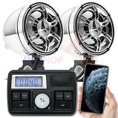 Waterproof Bluetooth ATV Motorcycle Stereo Speaker Audio System AUX USB SD Radio