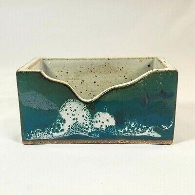 Studio Pottery Business Card Holder Blue Green Earthenware Handmade Vintage