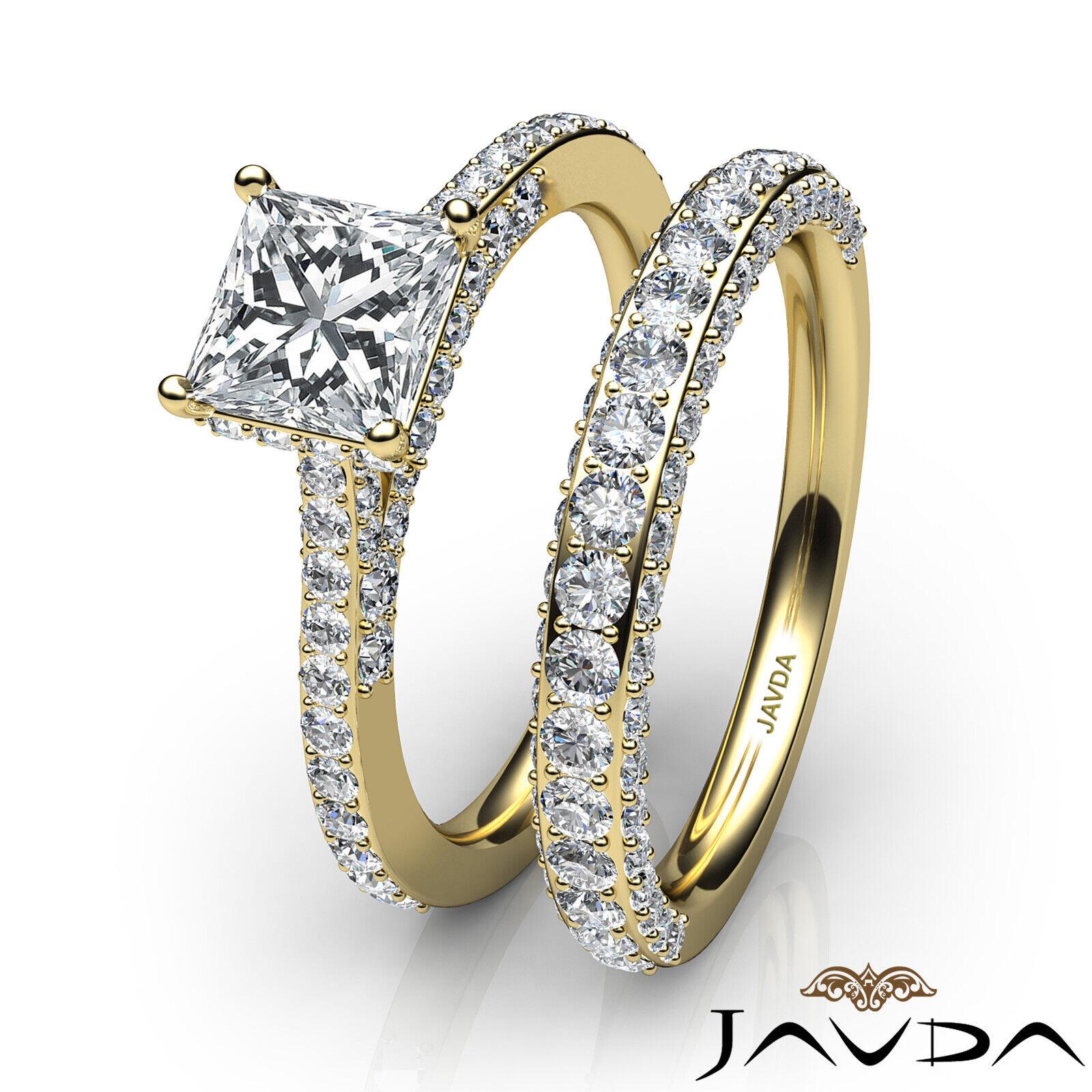 2.35ctw Circa Halo Pave Wedding Set Princess Diamond Engagement Ring GIA G-VVS1 11