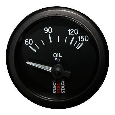 Stack 60-150 °C Oil Temperature Gauge 52mm Electrical Black Face 3209