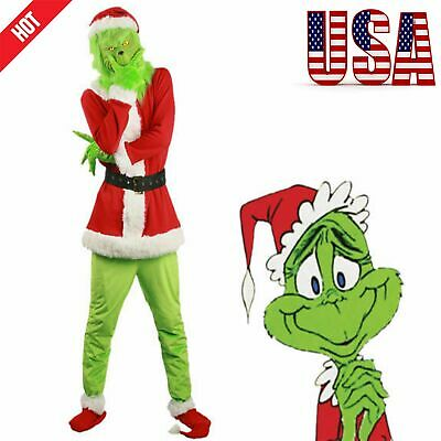 New Santa Grinch Cosplay Costume How The Grinch Stole Christmas Suit Outfits Set ()