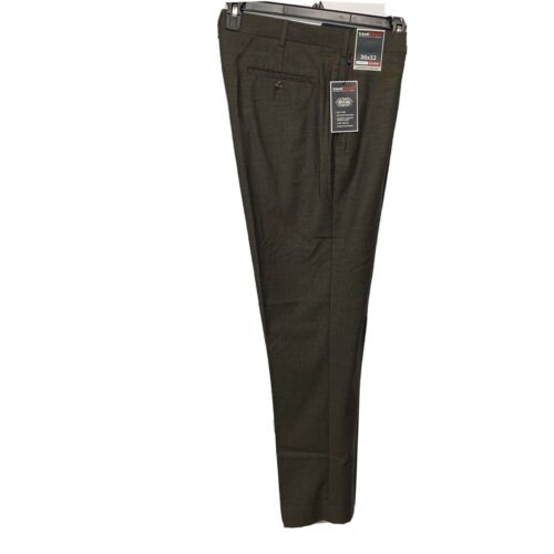 Roundtree & Yorke Travel Smart Classic Fit Flat Front Pants Slacks 36×32 Brown Clothing, Shoes & Accessories
