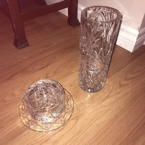 Crystal vase + beurrier