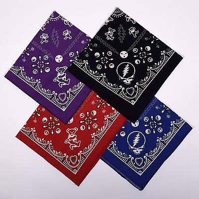 GRATEFUL DEAD-GOOD OL GRATEFUL DEAD-Steal Your Face-4 ast COLORS BANDANAS-Garcia